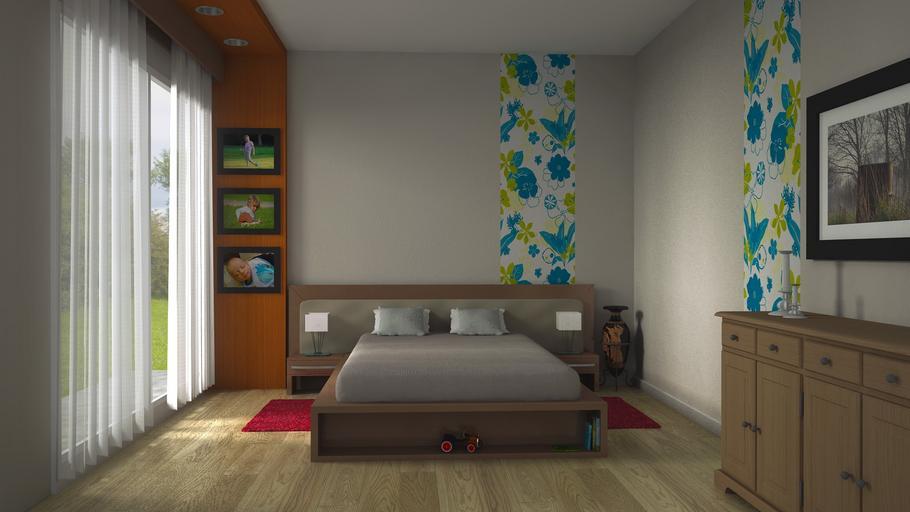 Spálňa s veľkým oknom, manželskou posteľou a fotografiami na stene.jpg